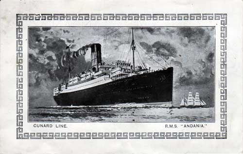 Abstract of Log - Reverse Side - Illustration of R.M.S. Andania