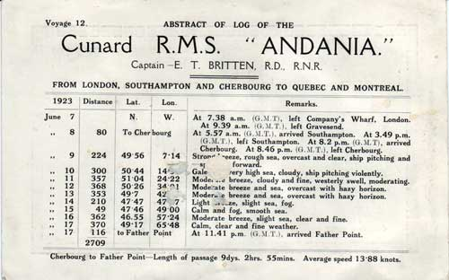 Abstract of Log, Cunard Line R.M.S. Andania 1923