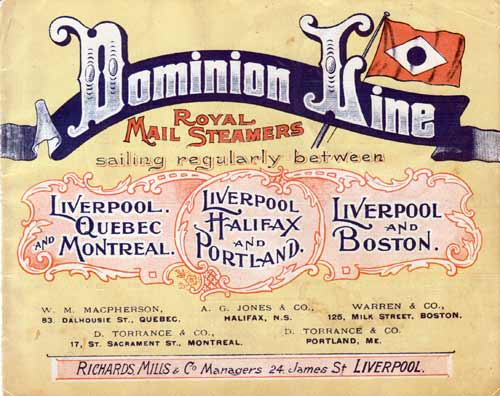 Mid 1890s Advertising Material, Dominion Line