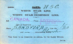 Canadian Alien Card, White Star Dominion Line SS Canada, Blanche Sandford, 1922