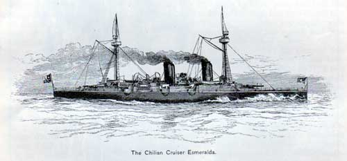 The Chilian Cruiser Esmeralda.
