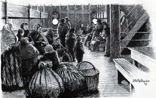Passengers in the Steerage of a steamship circa 1890