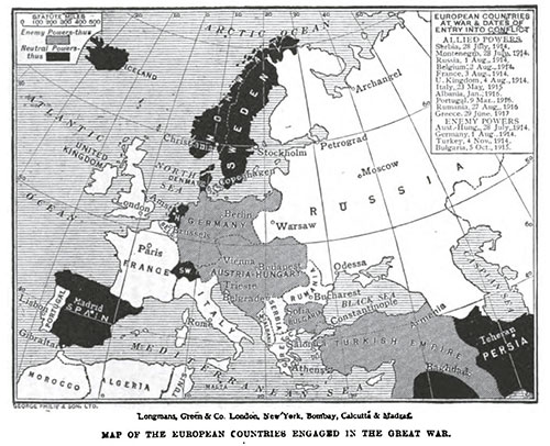 Map of European Countries Engaged in the Great War (World War I)