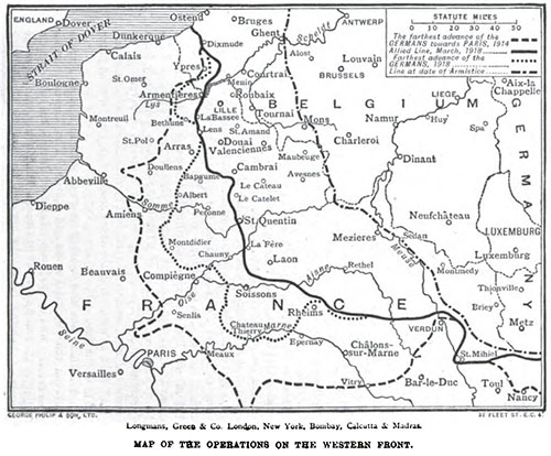 Map of the Operations on the Western Front