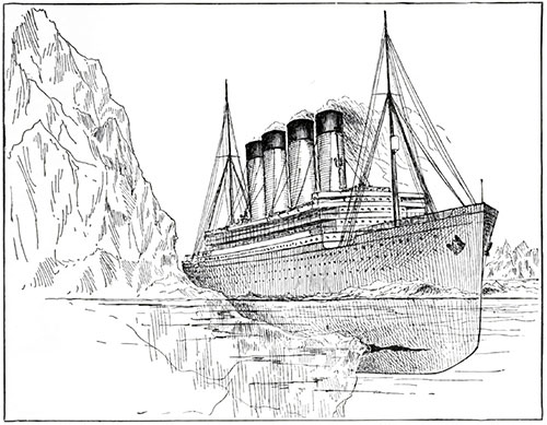 Illustration of the Titanic at the Moment of Impact