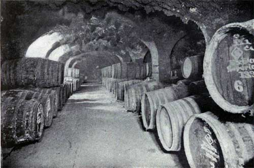 Wine Vaults, London Docks.  Capacity Over 8 Million Gallons