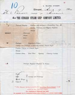 Baggage Contract, Cunard Line, 1904
