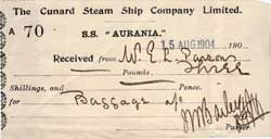 Receipt for Baggage loaded on to SS Aurania of Cunard Line 1904