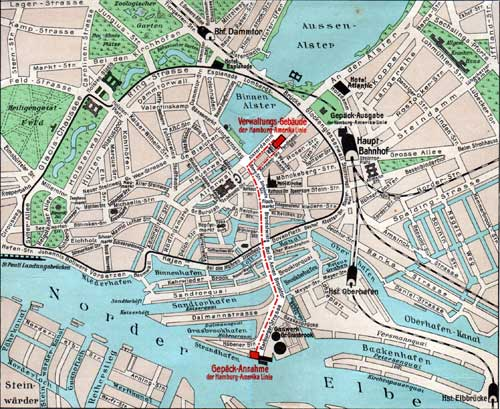 Map of Port of Hamburg and Outward Baggage Office
