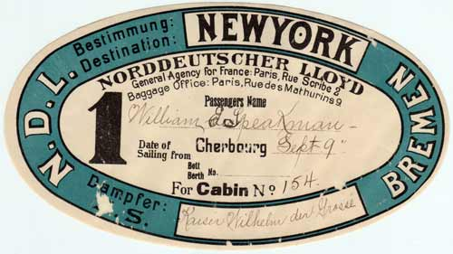 Sticker Luggage Tag - North German Lloyd - 1901