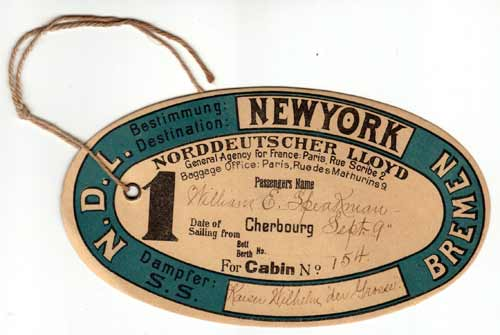 String tie-on luggage tag from 1901