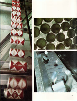 Thousands of cans can be held in Barker accumulator to pace production line. (1968 Annual Report)