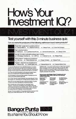 How's Your Investment IQ? Investment Quiz 1 - 1978 Bangor Punta Print Advertisement