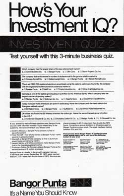 How's Your Investment IQ? Investment Quiz 2 - Bangor Punta 1978 Print Advertisement