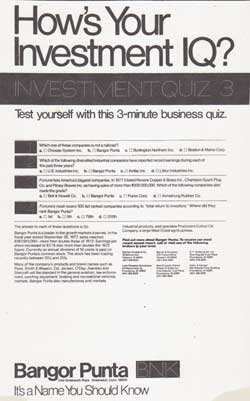 How's Your Investment IQ? Ivestment Quiz 3 - Bangor Punta Print Advertisement 1978