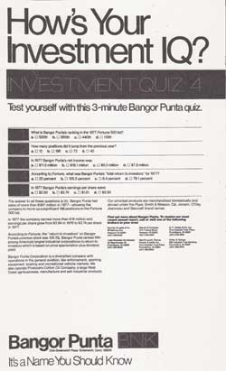 How's Your Investment IQ? Ivestment Quiz 3 - 1978 Bangor Punta Print Advertisement