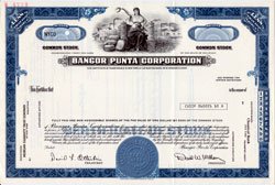 Specimen Stock Certificate of the Bangor Punta Corporation