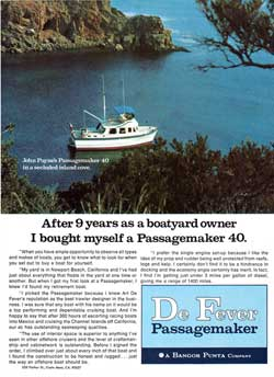 1972 John Payne's Passagemaker 40 Trawler in a secluded island cove.