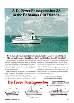 A De Fever Passagemaker 38 in the Bahamas Out Islands. 1972 Print Advertisement.