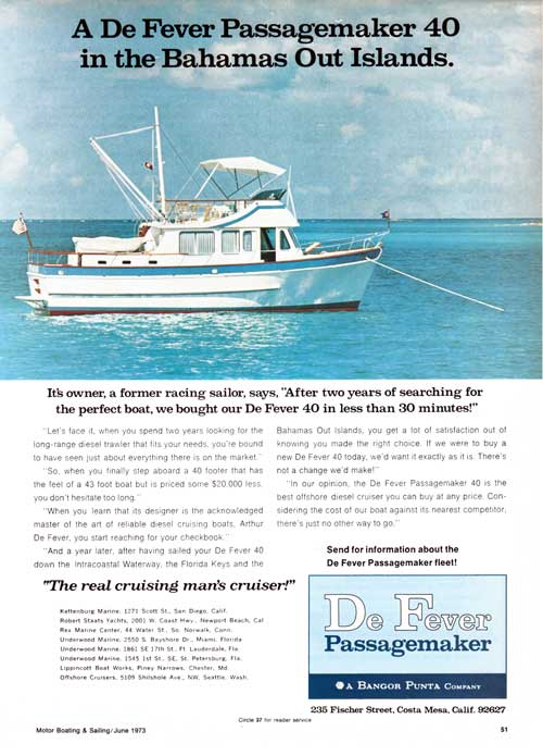 A De Fever Passagemaker 40 Trawler /  Cruiser in the Bahamas Out Island