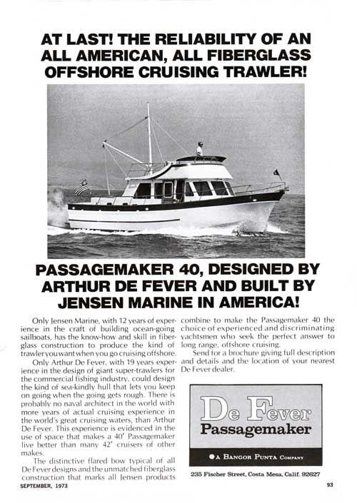 Passagemaker 40, Designed by Arthur De Fever and Built by Jensen Marine - 1973 Print Advertisement