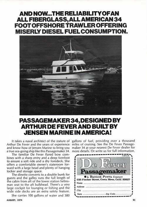 De Fever Passagemaker 34 Offshore Trawler - 1974 Print Advertisement