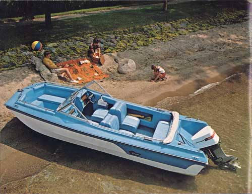 The 1973 Roamer 17 shown in Seacrest White, Ocean Blue Exterior and Sky blue Interior