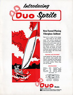 DUO Sprite Tunnel Planing Fiberglass Sailboat (1971)