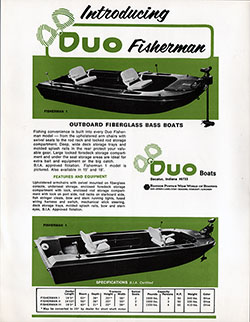DUO Fisherman Outboard Fiberglass Bass Boat (1971)