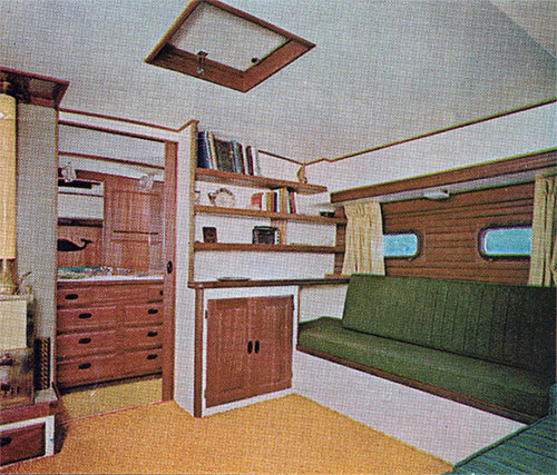 View of Main Salon and Dressing Area on the Cal Cruising 46 Yacht