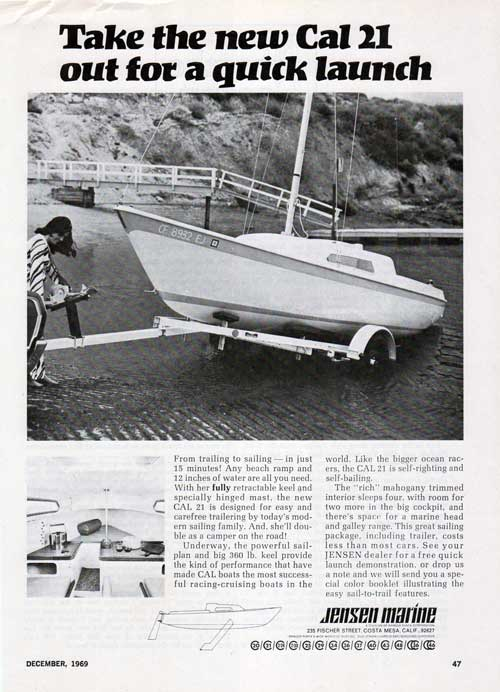 Take the new CAL 21 out for a quick launch. 1969 Print Advertisement.