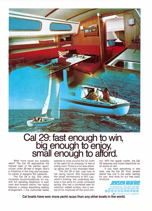 CAL 29 Yacht - Fast Enough to Win - 1973 Print Advertisement.