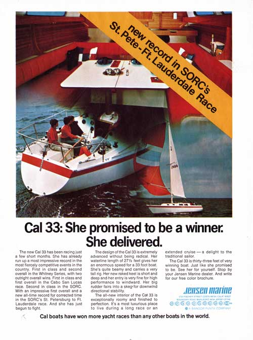 Cal 33 a winning yacht with a roomy interior