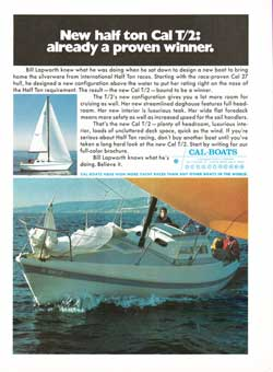 The New Half Ton CAL T/2 Racing Yacht - 1973 Print Advertisement.