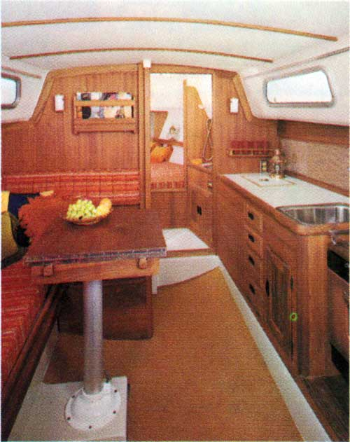 Main Cabin on the CAL 29 Yacht showing the Galley and Dining Area