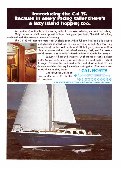 Introducing the CAL 35 Yacht - 1974 Print Advertisement