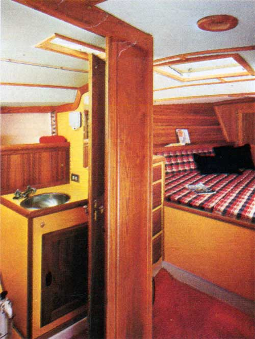 A view of the interior cabin on the CAL 35 Yacht