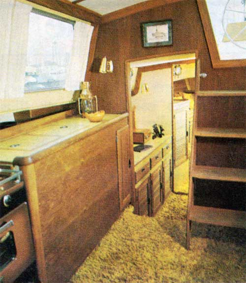 View of the Galley and Forward Compartment on the CAL 2-46 Yacht