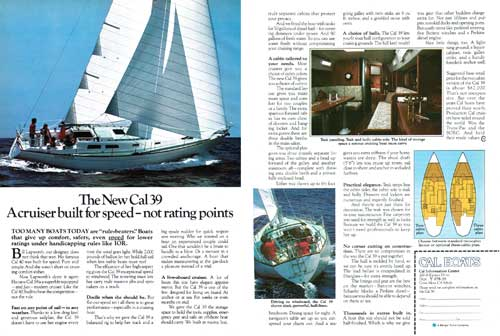 The New CAL 39 Yacht - A cruiser built for speed.  1978 Print Advertisement.