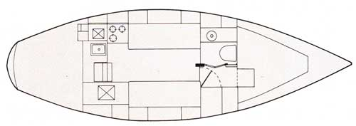 Schematic (Top View) of the New CAL 31 Yacht