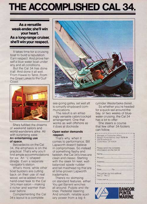 THE ACCOMPLISHED CAL 34 Cruising Boat - 1979 Advertisement