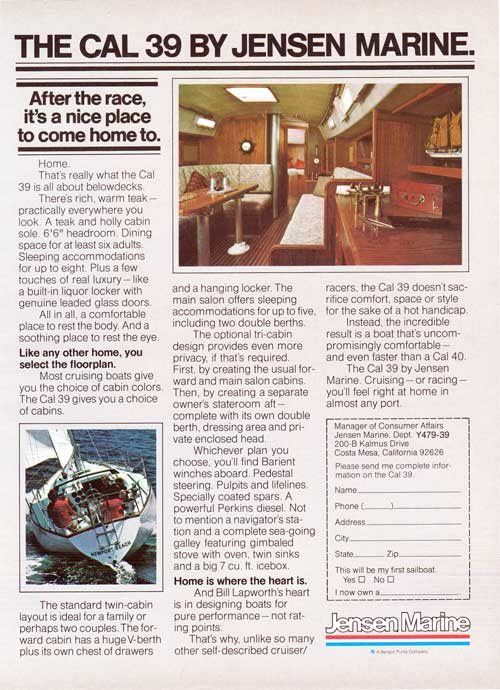 The CAL 39 Yacht by Jensen Marine. 1979 Print Advertisement.
