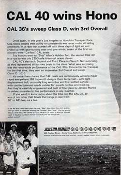 1967 CAL 40 wins Los Angeles to Honolulu Transpac Race