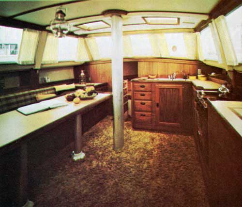 Cal 2-46 Yacht Main Salon with view of Galley and Dining Area