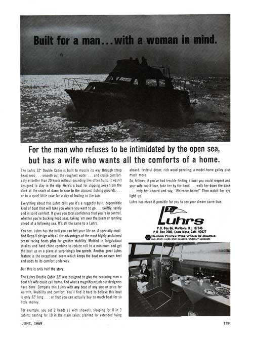 Luhrs Double Cabin 32' Yacht - 1969 Print Advertisement.