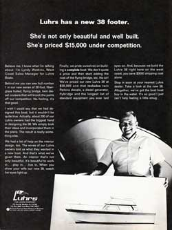 Luhrs has a new 38 Footer.  1970 Print Advertisement.