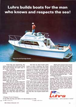 Luhrs builds boats for the man who knows and respects the sea! 1972 Print Advertisement