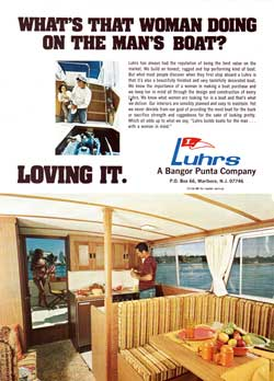 What's That Woman Doing on the Man's Boat? - Luhrs 1973 Print Advertisement