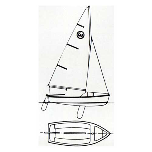 Top and Side Diagrams of the O'Day Widgeon Sailboat