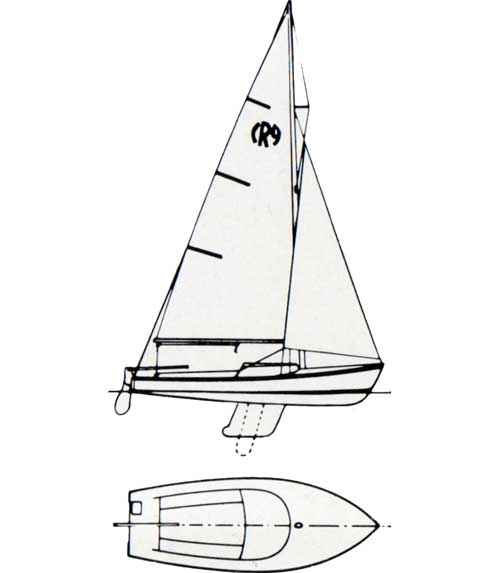 Diagrams, Top and Side Views, of the O'Day Rhodes 19 Sailboat